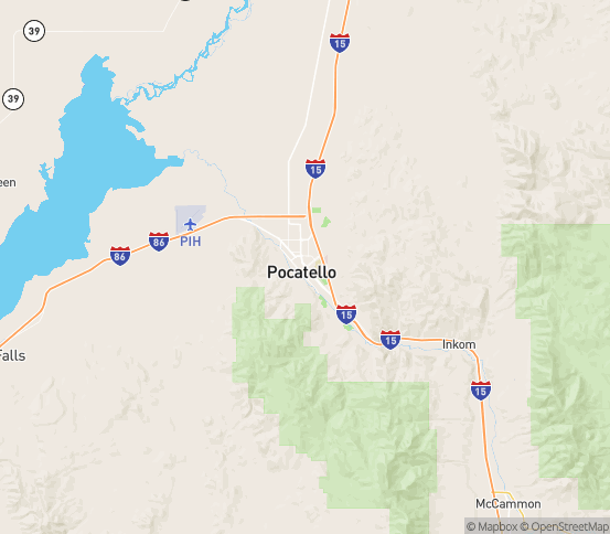 Map of Pocatello, ID