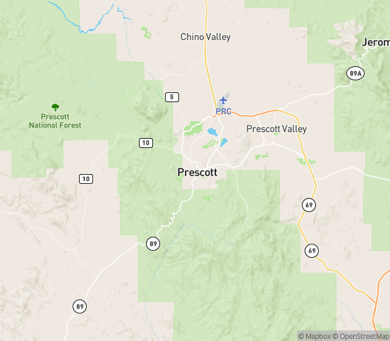 Map of Prescott, AZ