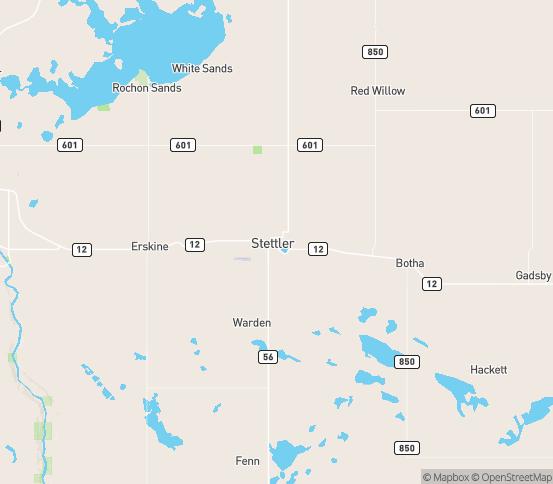 Map of Stettler, AB