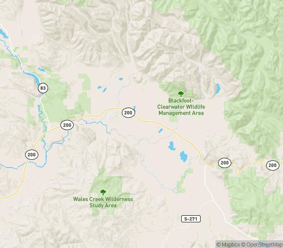 Map of Ovando, MT