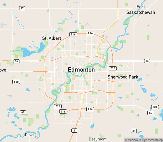 Map of Edmonton, AB