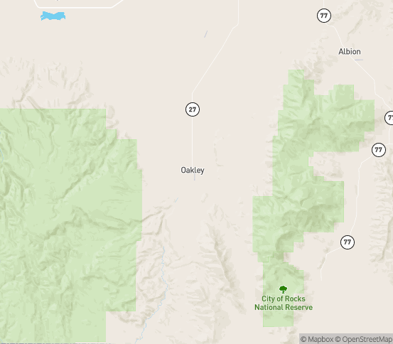 Map of Oakley, ID