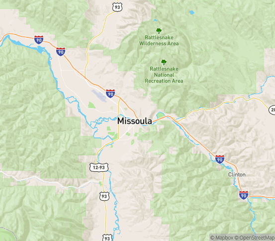 Map of Missoula, MT