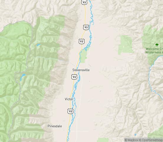 Map of Stevensville, MT