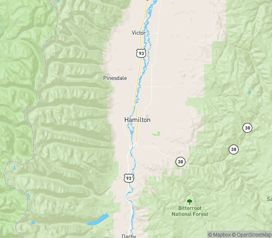 Map of Hamilton, MT