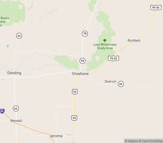 Map of Shoshone, ID