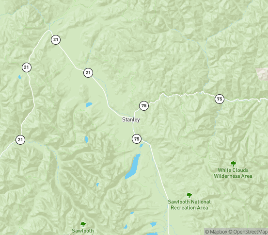 Map of Stanley, ID