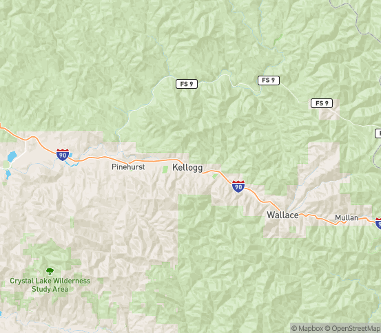 Map of Kellogg, ID
