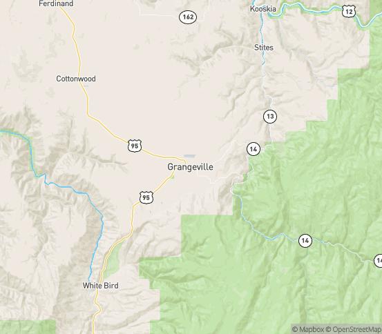 Map of Grangeville, ID