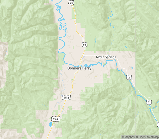 Map of Moyie Springs, ID