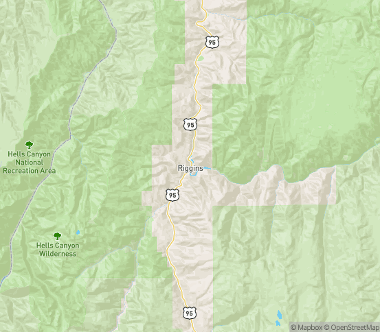 Map of Riggins, ID