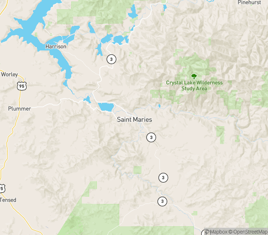 Map of St Maries, ID