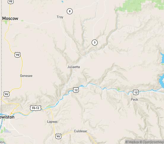 Map of Juliaetta, ID