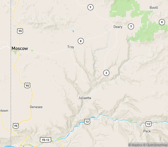 Map of Kendrick, ID
