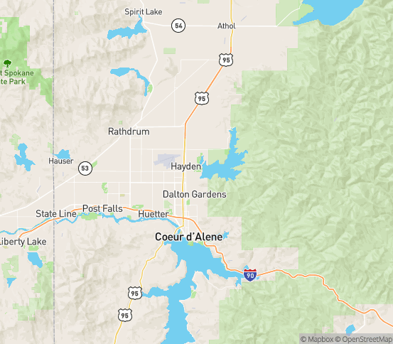 Map of Hayden Lake, ID