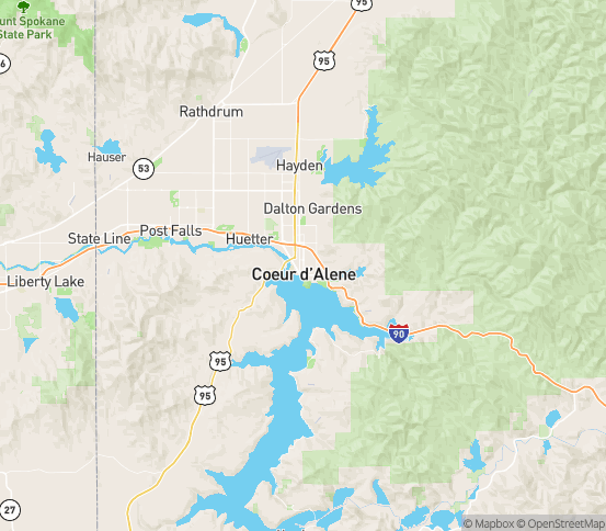 Map of Coeur D Alene, ID