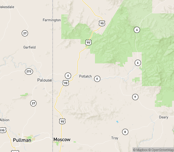 Map of Potlatch, ID