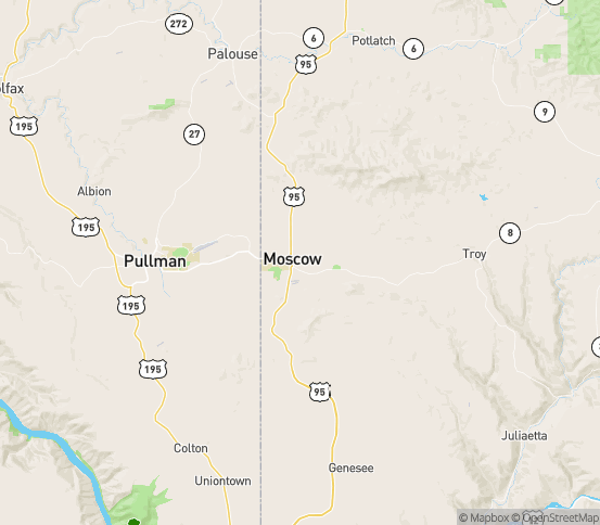 Map of Moscow, ID