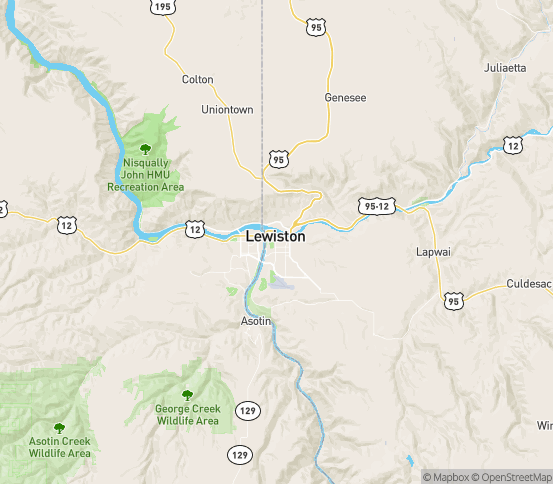 Map of Lewiston, ID