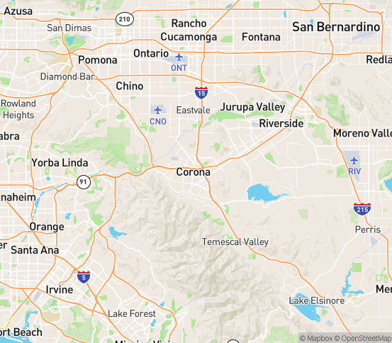 Map of Corona, CA