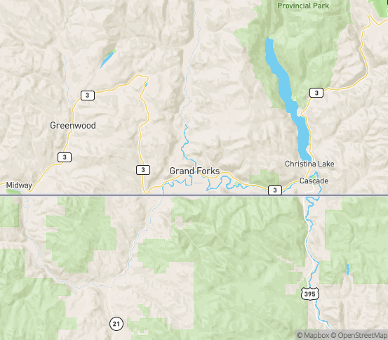 Map of Grandforks, BC