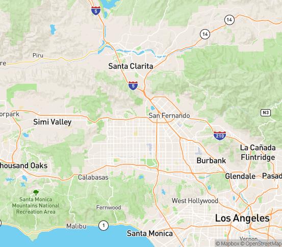 Map of Granada Hills, CA