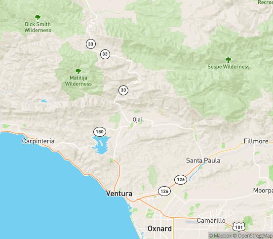 Map of Ojai, CA