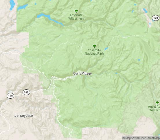 Map of Yosemite National Park, CA