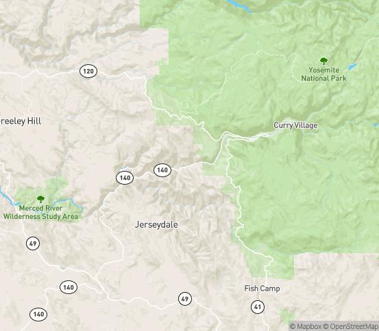 Map of Yosemite, CA