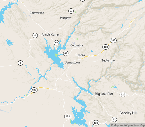 Map of Jamestown, CA