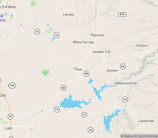 Map of Ione, CA