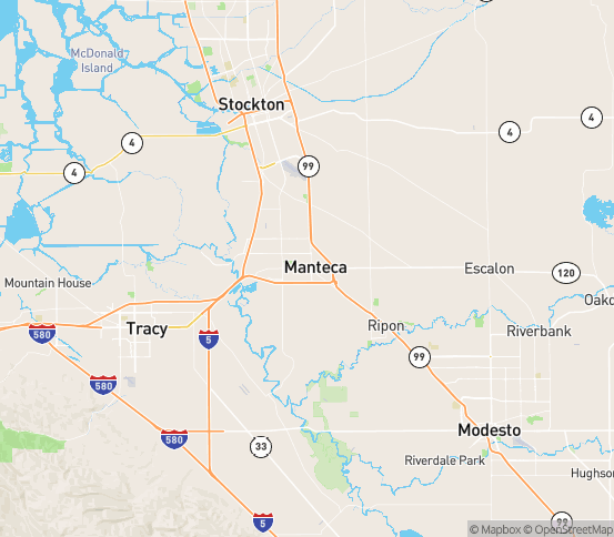 Map of Manteca, CA