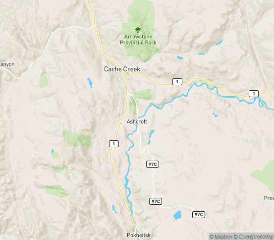 Map of Ashcroft, BC