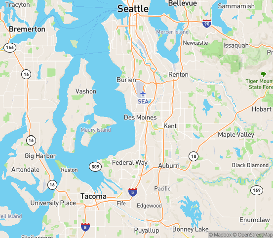 Map of Des Moines, WA