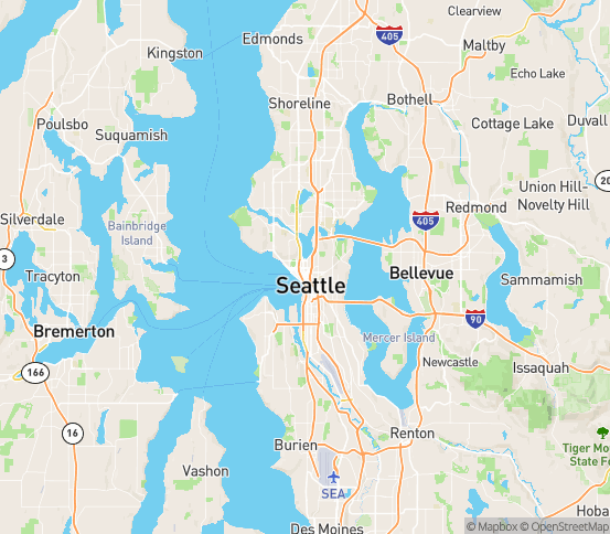 Map of Seattle, WA