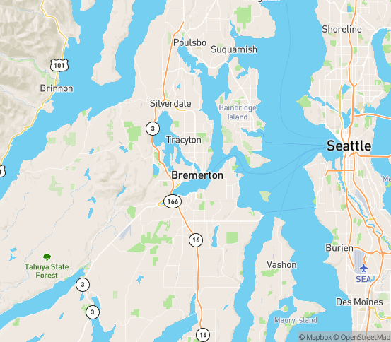 Map of Bremerton, WA