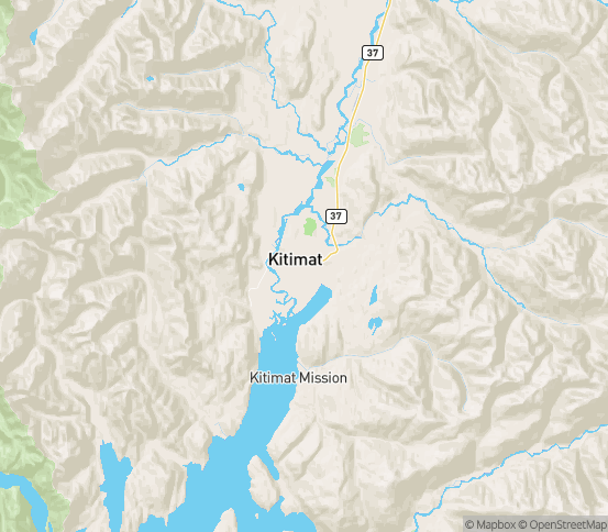 Map of Kitimat, BC