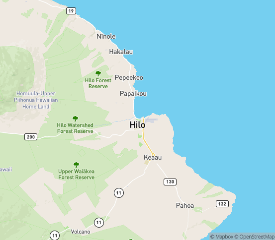 Map of Hilo, HI