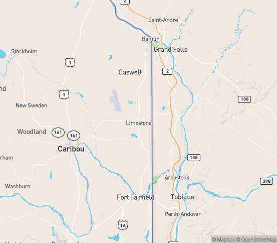 Map of Limestone, ME
