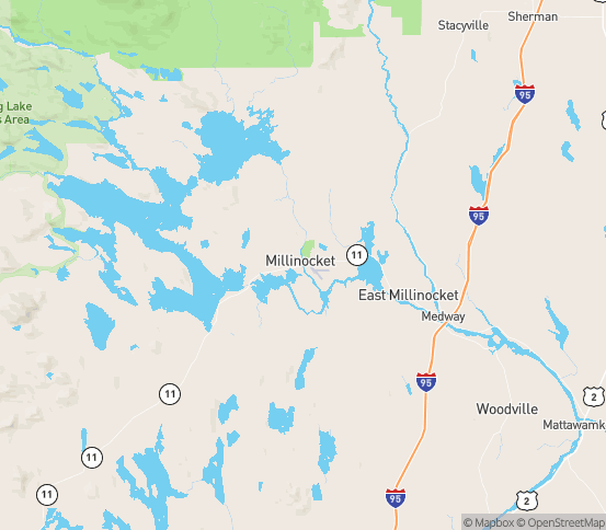 Map of Millinocket, ME