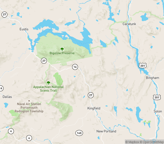 Map of Kingfield, ME