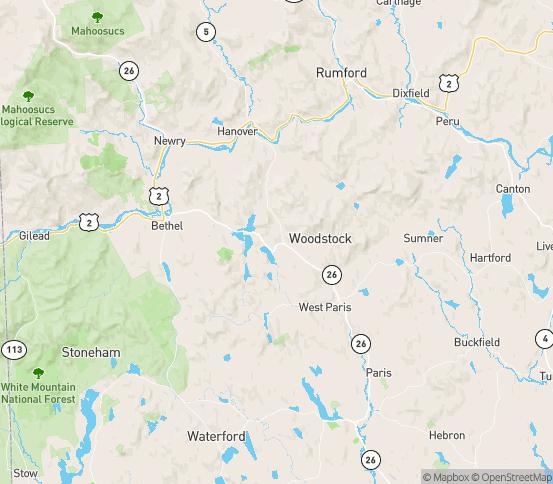 Map of Bryant Pond, ME