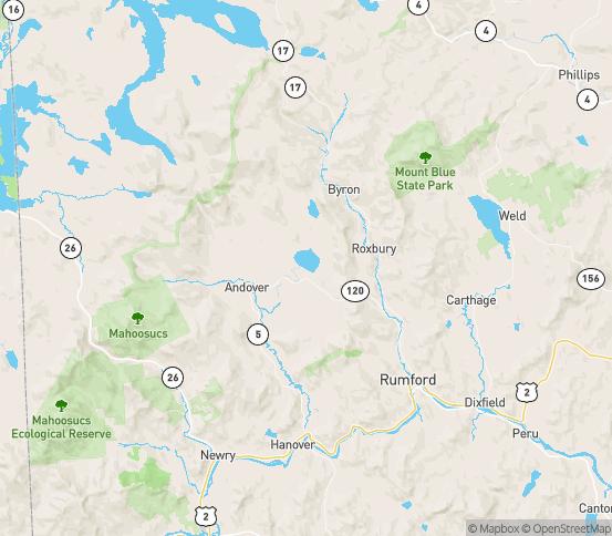 Map of Roxbury, ME