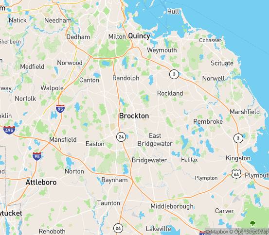 Map of Brockton, MA
