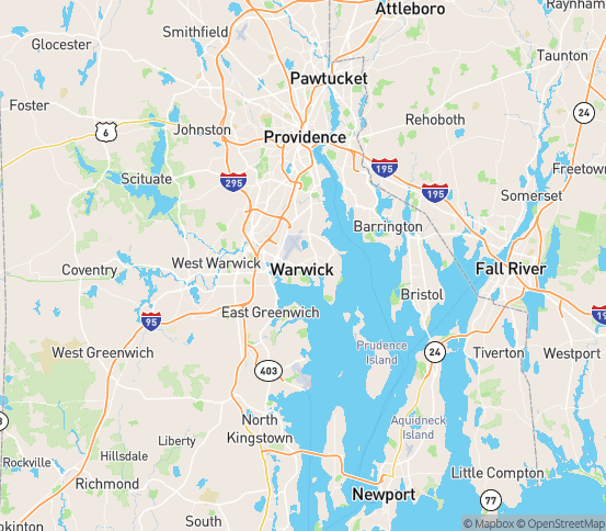 Map of Warwick, RI