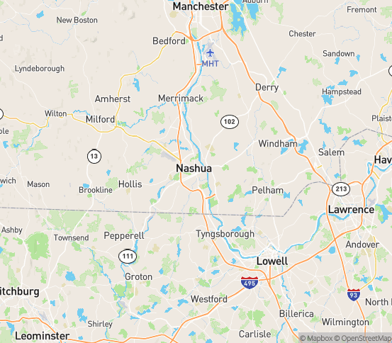 Map of Nashua, NH