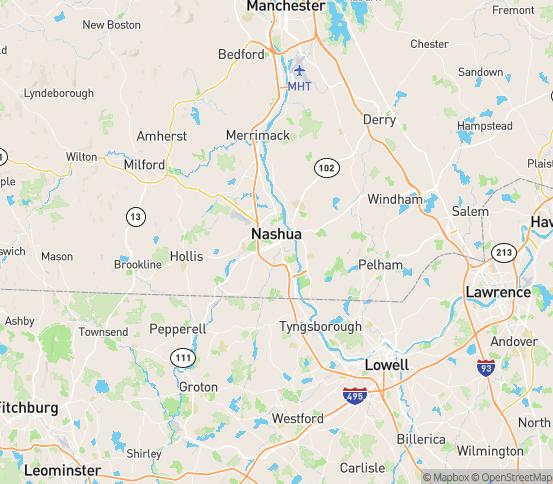 Map of Nashua, NH