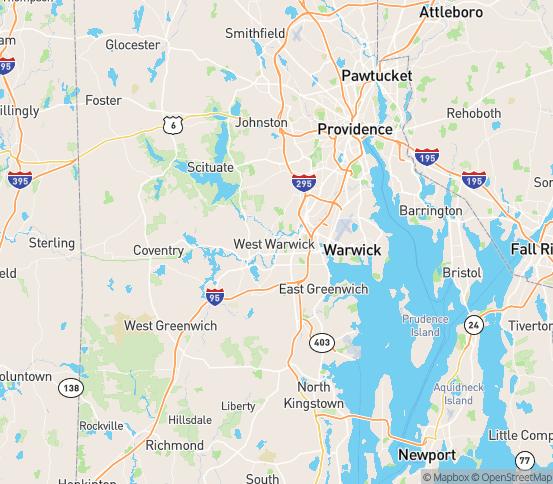 Map of West Warwick, RI
