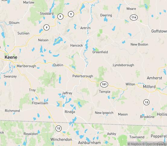 Map of Peterborough, NH