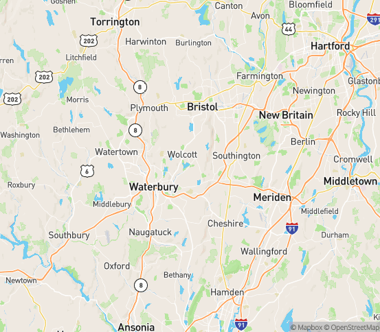 Map of Wolcott, CT